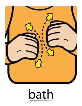 "Baby Sign Language ""Bath"" sign (color)"