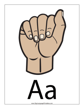 Letter A (color, with label) sign language printable