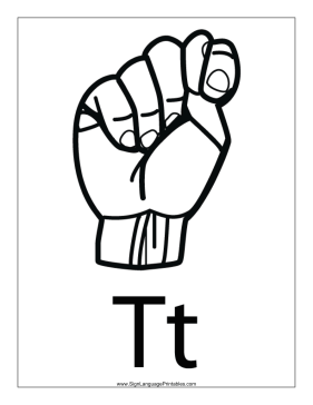 Letter T (outline, with label) sign language printable