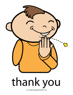 """Baby Sign Language """"Thank You"""" sign (color) sign language printable"""