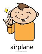 "Baby Sign Language ""Airplane"" sign (color)"