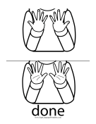 "Baby Sign Language ""Done"" sign (outline)"