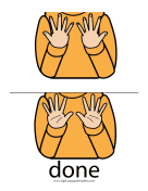 "Baby Sign Language ""Done"" sign (color)"