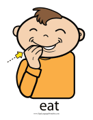 "Baby Sign Language ""Eat"" sign (color)"