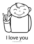 "Baby Sign Language ""I Love You"" sign (outline)"