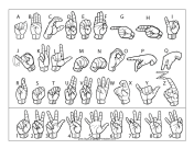 Sign Language Letter and Number Chart (outline, with labels)