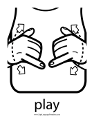 "Baby Sign Language ""Play"" sign (outline)"