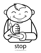 "Baby Sign Language ""Stop"" sign (outline)"
