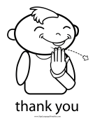 "Baby Sign Language ""Thank You"" sign (outline)"