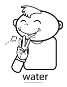 "Baby Sign Language ""Water"" sign (outline)"
