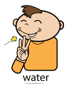 "Baby Sign Language ""Water"" sign (color)"
